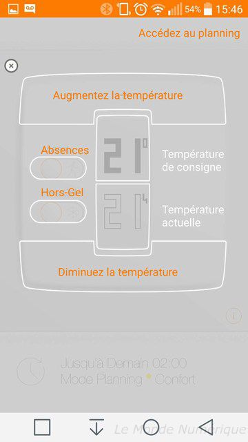 Application thermostat Netatmo : tableau de bord