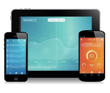 Interface de l'appli mobile du capteur d'air connecté Foobot
