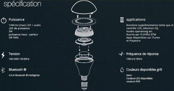 Ampoule connectee coulor PLAYBULB - Bluetooth LED couleur Haut-parleur