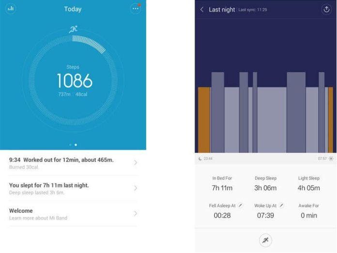 L'application Mi Fit pour consulter les données enregistrées par le bracelet connecté Xiaomi Mi Band