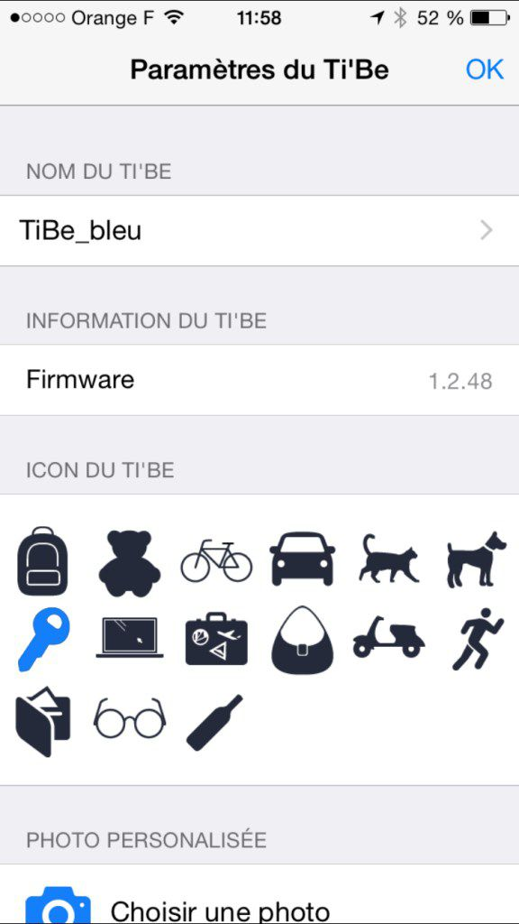 Interface application mobile du TiBe Connect