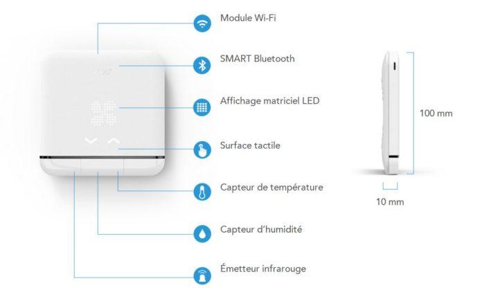 Dimensions et quelques caractéristiques du thermostat connecté TADO AC01-TC-FR 02
