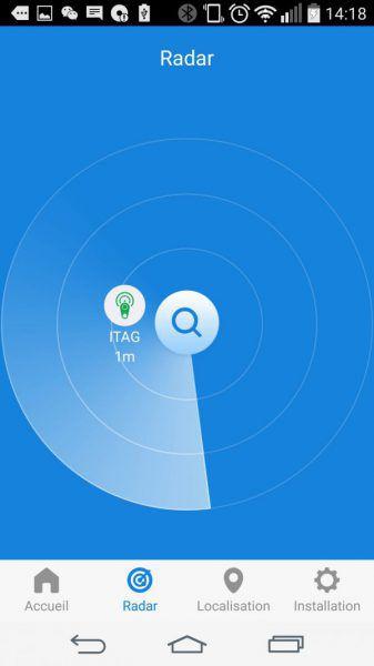 Fonction radar du logiciel pour le porte clé connecté anti-perte universel iTag