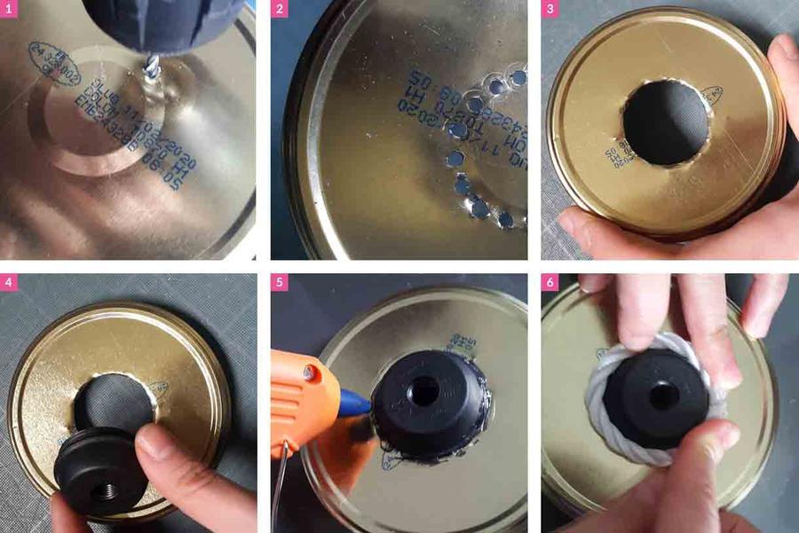 étape 1 à 6 pour réaliser la lampe de chevet playmobil