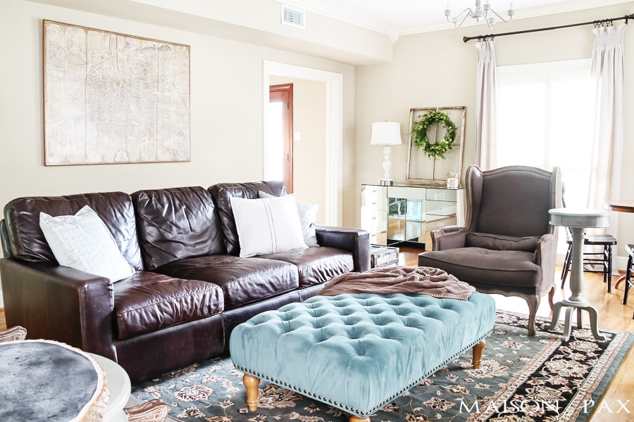 how to decorate with a dark brown leather sofa lazy boy reclining disassembly rustic chic living room - maison de pax
