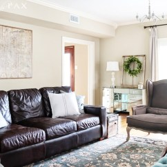 Turquoise Accents For Living Room Brown Leather Sofa Decorating Ideas Rustic Chic Maison De Pax Gorgeous Neutral With Blue And Mix Of Antiques Affordable Pieces