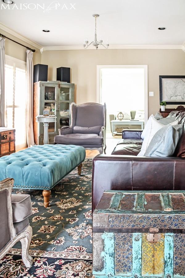 turquoise accents for living room decor ideas rooms rustic chic maison de pax