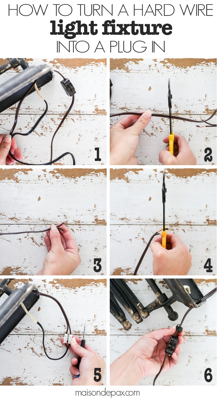 medium resolution of how to turn a hard wire light fixture into a plug in step by step
