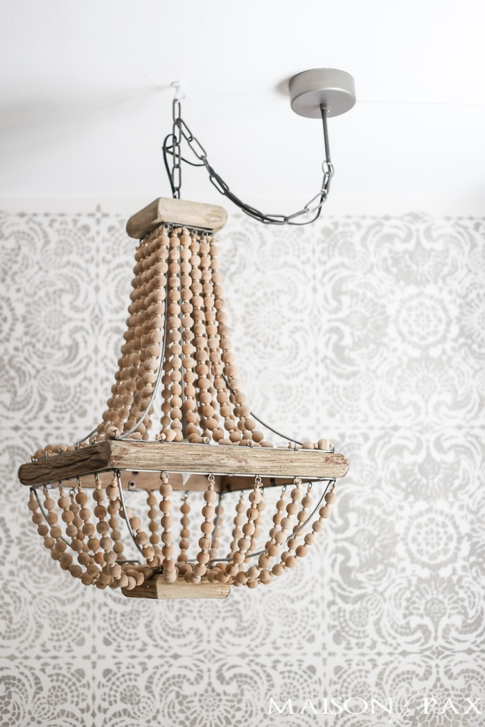 How To Hang A Plug In Chandelier Gorgeous Wood Bead Front Of