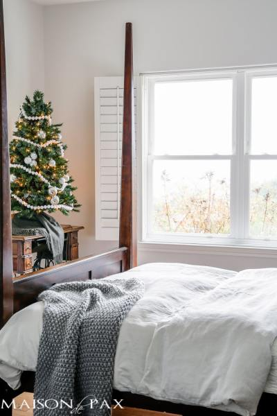 master bedroom decorating ideas christmas White Christmas Master Bedroom - Maison de Pax