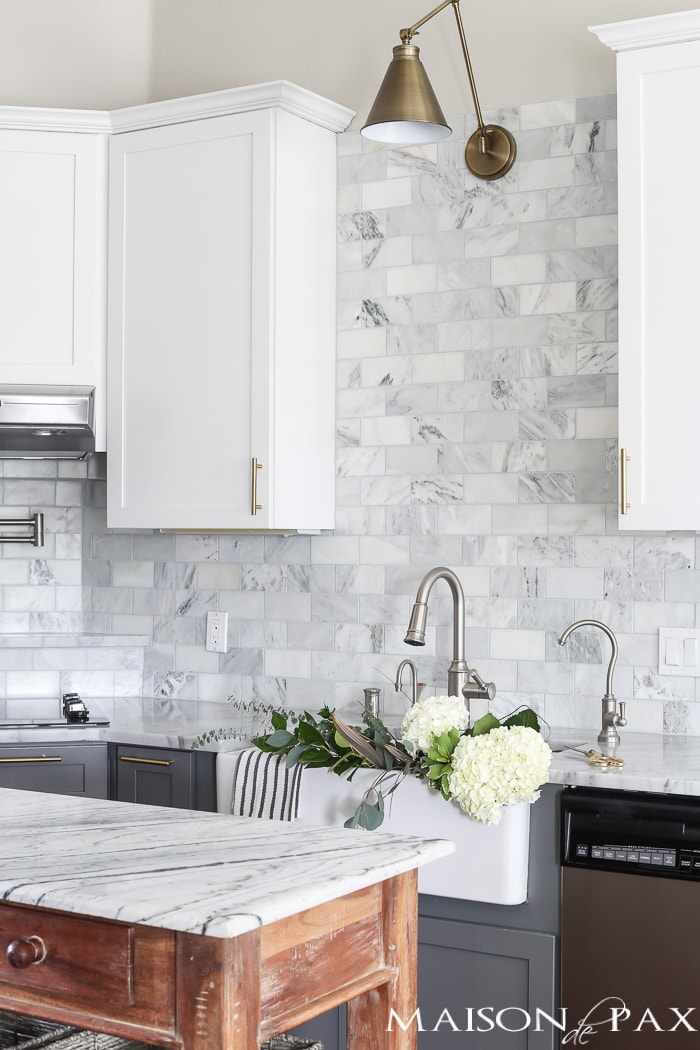 moen pull down kitchen faucet companies that spray paint cabinets gray and white marble reveal - maison de pax