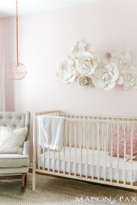 Paper Flower Wall Art in the Nursery - Maison de Pax