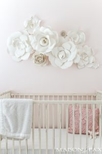 Paper Flower Wall Art in the Nursery