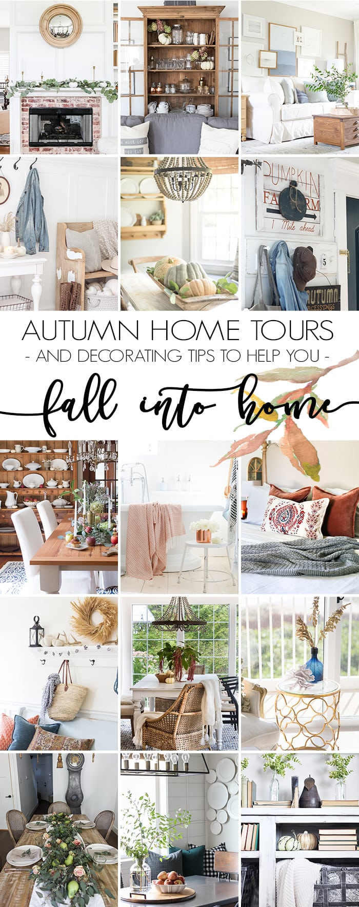 Fall decor with white pumpkins and lots of neutral textures makes for a simple, serene fall look. Don't miss these fall decorating tips and ideas for creating a cozy home. #falldecor