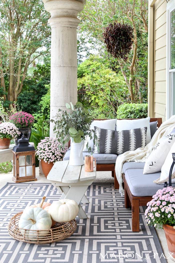 Neutral Fall Porch Decorating Ideas and Tour  Maison de Pax