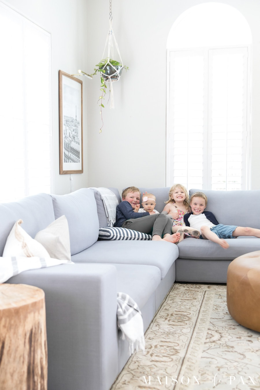 how to decorate a small living room with big furniture light grey ideas sectional maison de pax this huge gray is perfect for family find out