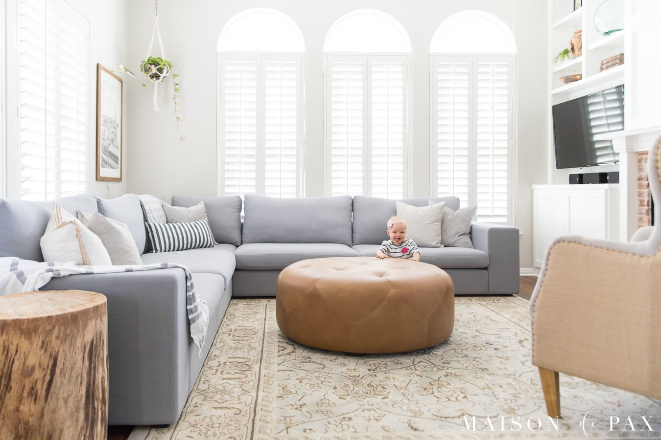 gray couch living room decor amazon furniture designing a small with large sectional maison de pax bright design