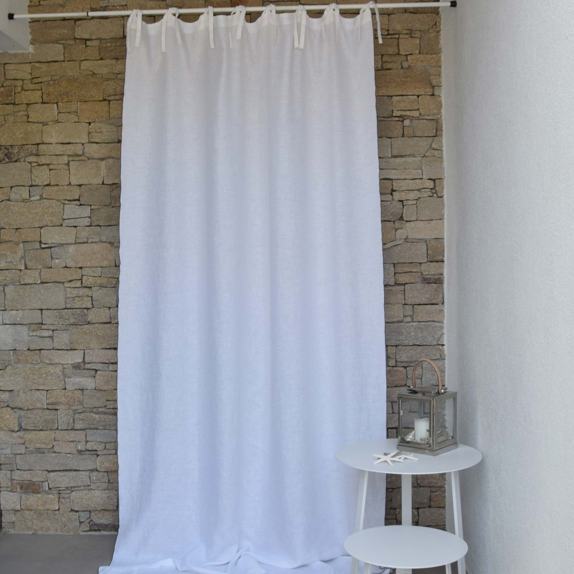 White Washed Linen Curtain With Gray Bourdon Stitching On Sale A