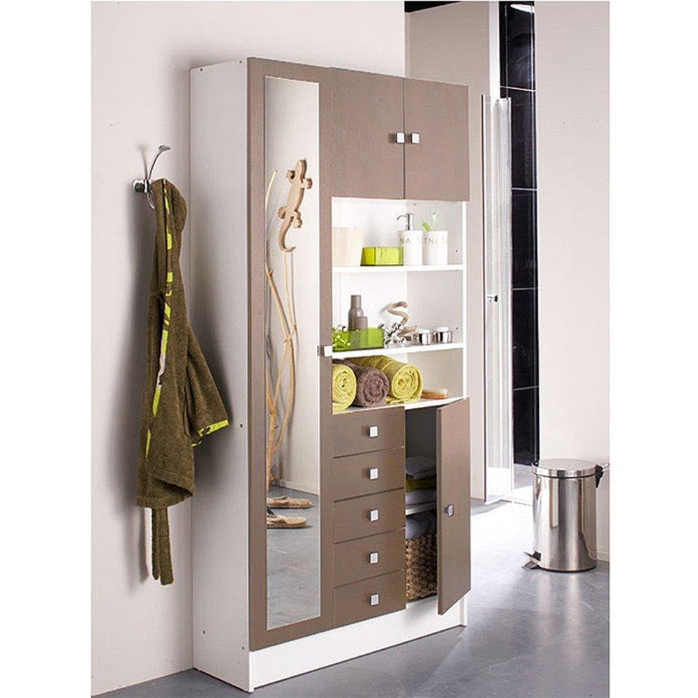 armoire de salle de bain 1 miroir 4 portes 5 tiroirs blanc taupe