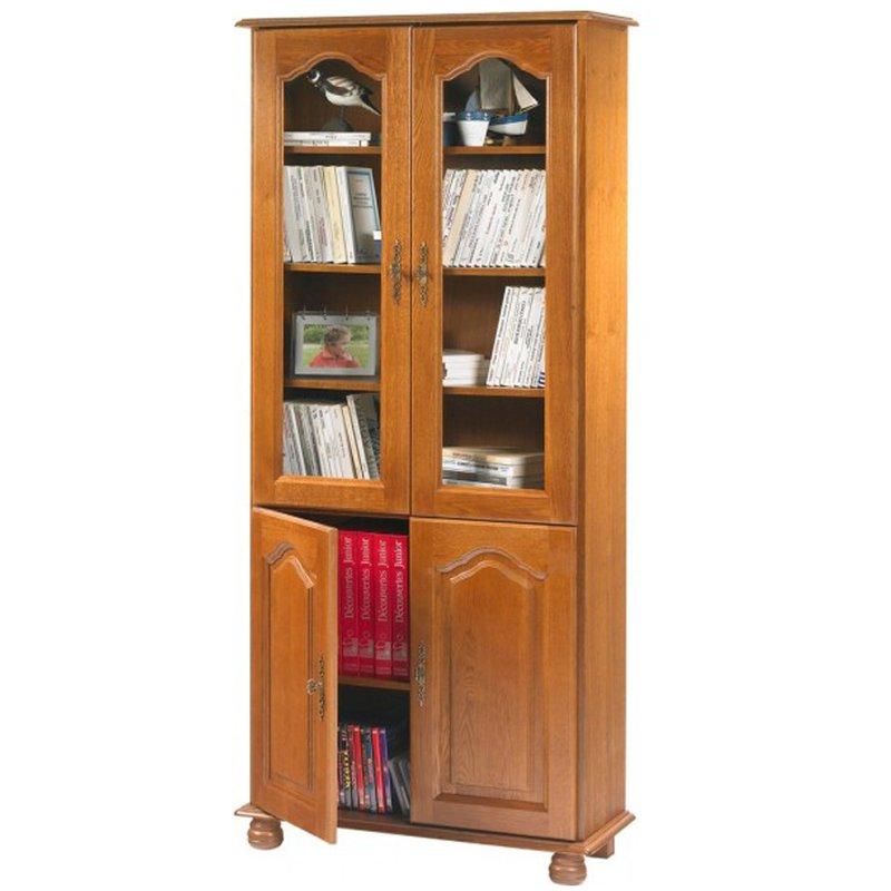 Bibliothque 2 portes vitres  2 portes pleines chne  Maison et Styles