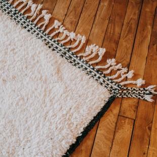 tapis berbere blanc et noir 186x123cm