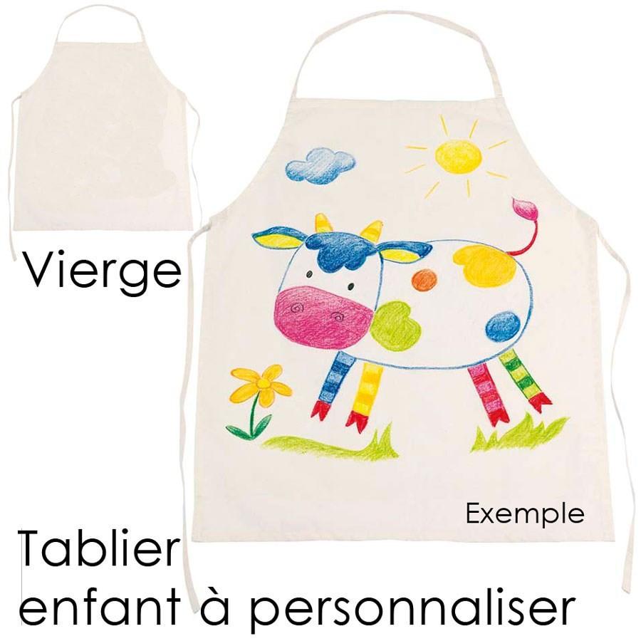 tablier de cuisine pour enfant en coton a peindre et personnaliser