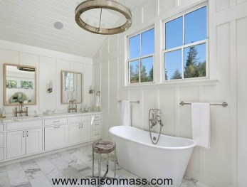 board and batten, bathroom, feature wall