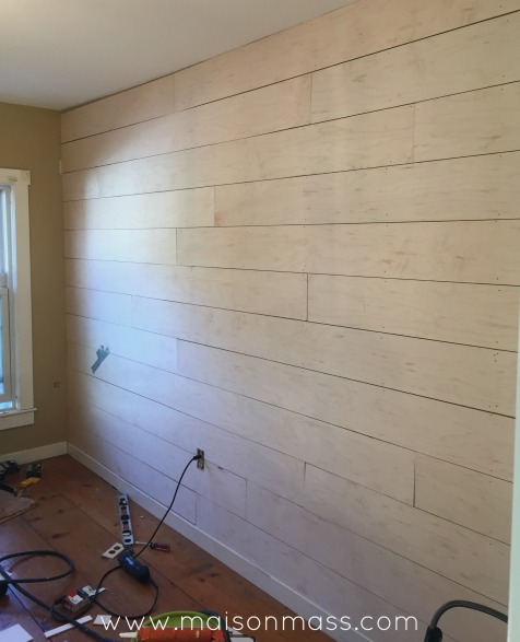 Wood plank wall, office overhaul