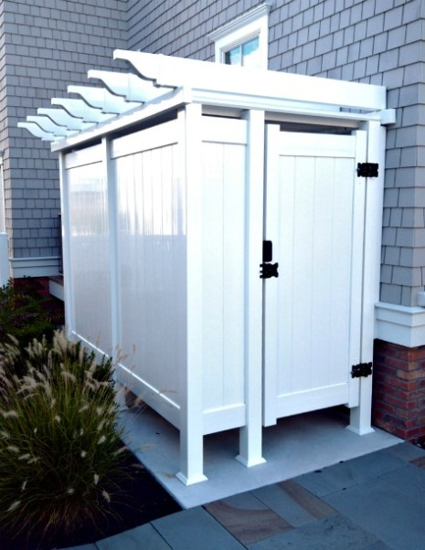 outdoor shower, azec, white