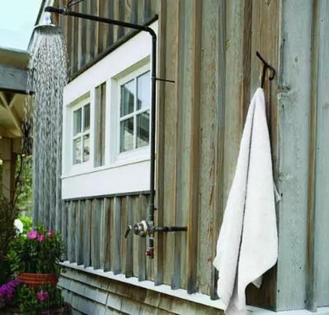 outdoor shower, en plan air, simple
