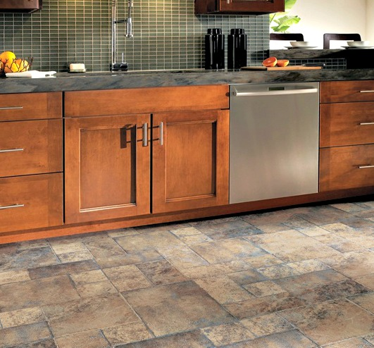 Kitchen flooring; laminate tile