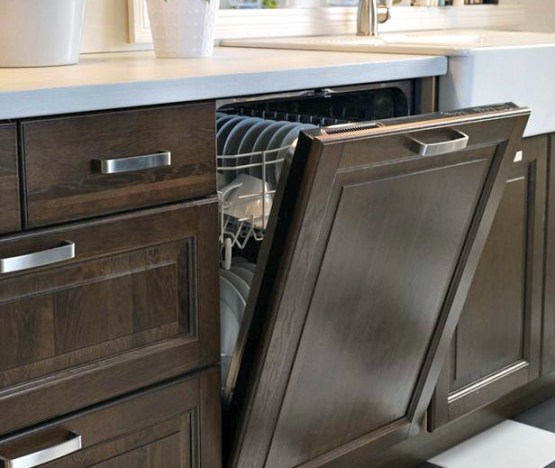 kitchen appliances, paneled dishwasher