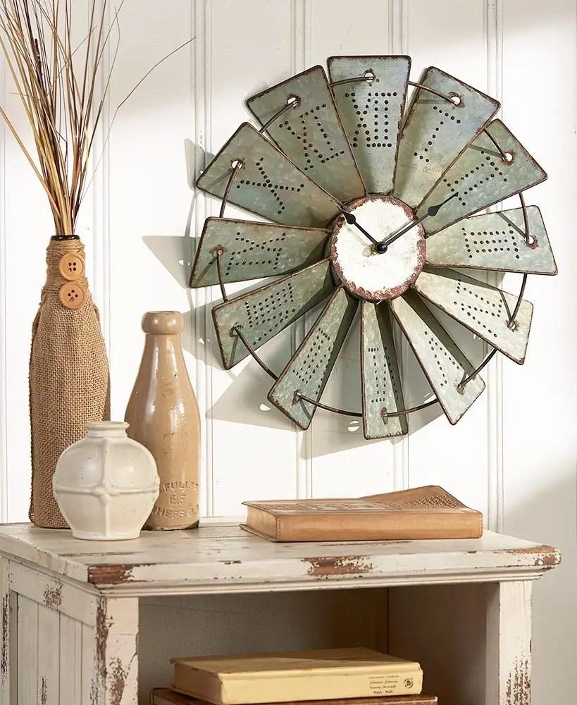 Farmhouse windmill clock
