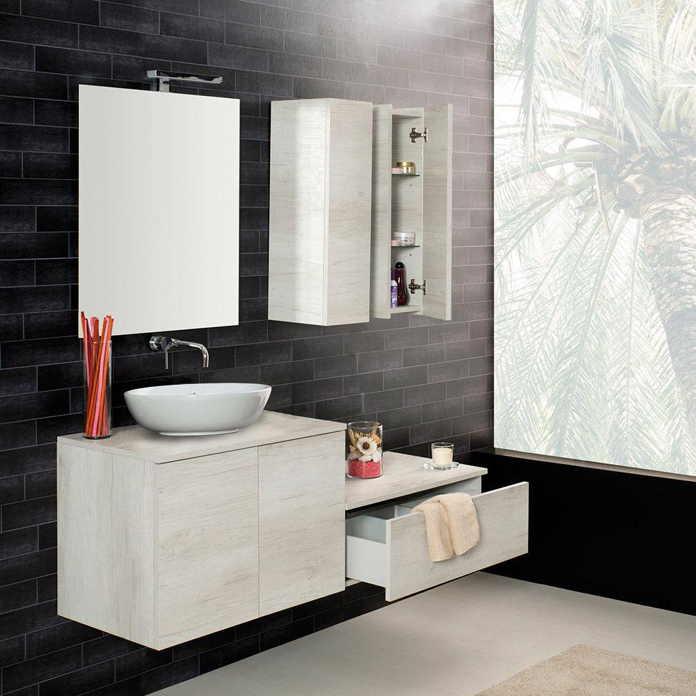 UNIKA  Mobile sospeso con ante finitura olmo bianco per lavabo dappoggio cm 60708090100x46