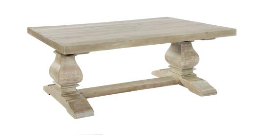 monastery light washed hand crafted solid wood coffee table