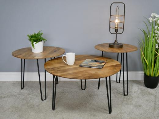 side coffee table round black pin legs raw unfinished wood