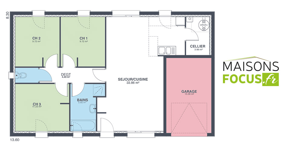 Plan maison focus 80m2 for Plan maison 80m2 3 chambres
