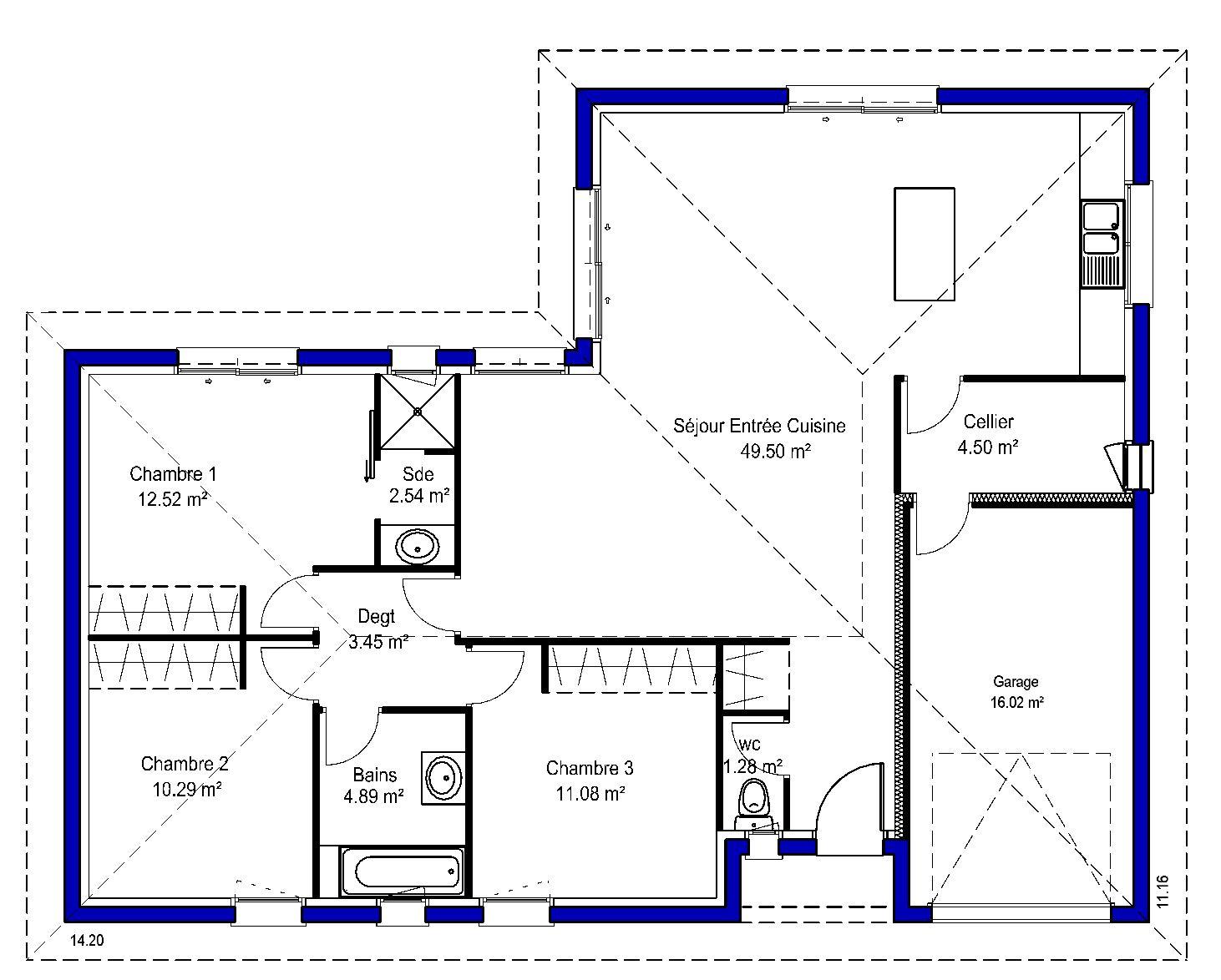 plan de maison 5 chambres plain pied gratuit. great plan maison en ... - Plan De Maison 5 Chambres Plain Pied Gratuit