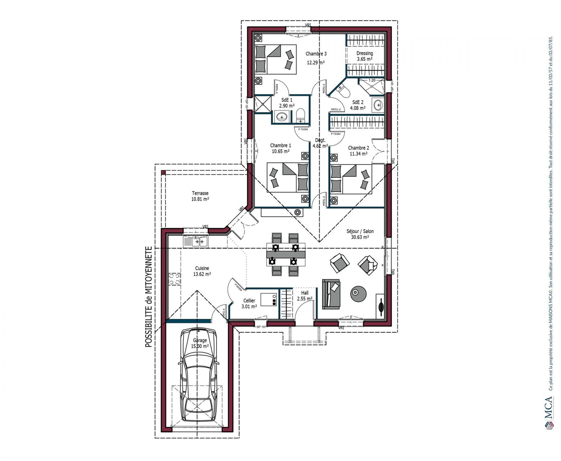 99 m 3 chambres maisons mca