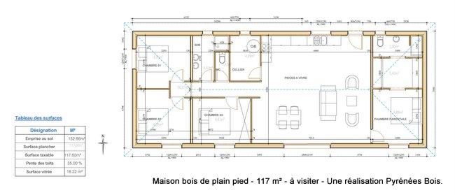 Plan Maison Bois Gratuit Plan Gratuit Petite Maison Chambres Pas Chere Toit Plat With Plan  # Logiciel Plan Ossature Bois Gratuit