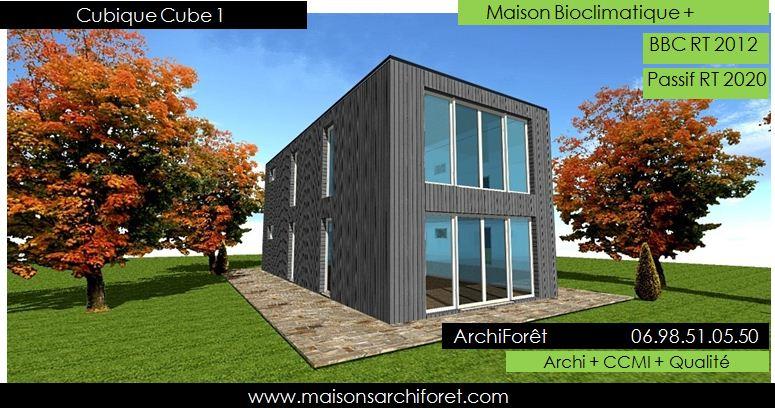Maison cubique cube ou carree en ossature bois par votre architecte constructeur plans permis