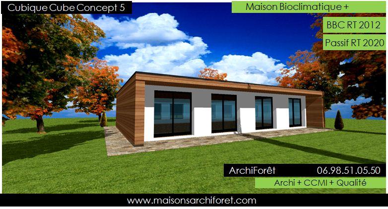 Plan et photo maison plain pied en L ou plein pied en rez de chaussee rdc par votre architecte