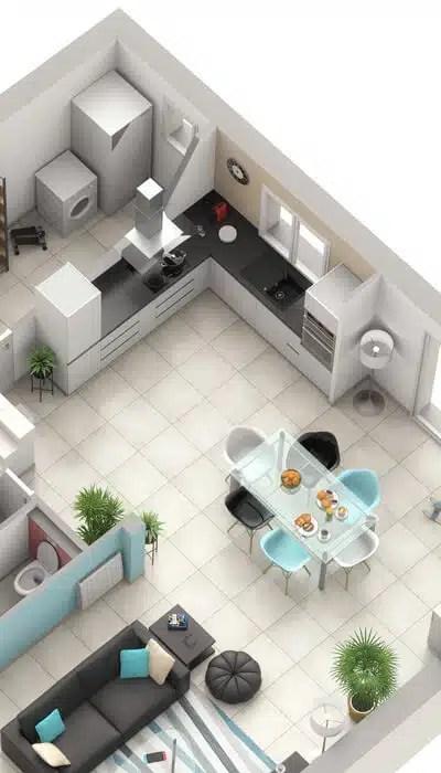 Elegant Plan Maison 3D Jasmin : Cuisine Ouverte