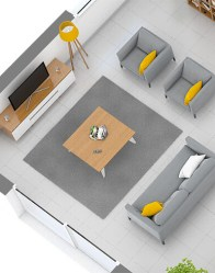 Maison individuelle - vue 3D salon/séjour
