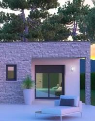 Maison toit plat Onyx - Parement en pierres