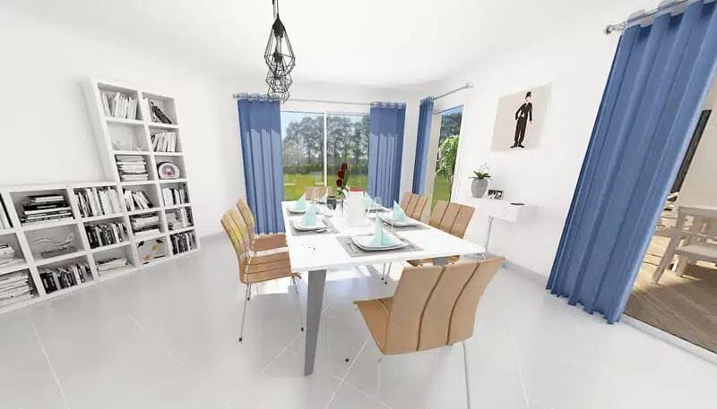 Vue 3d séjour - Maison contemporaine Tanzanite
