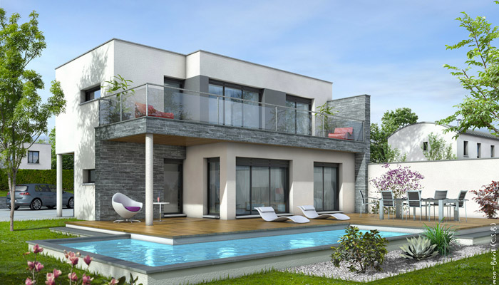 Maison toit plat azur plan maison contemporaine for Maison contemporaine avec toit