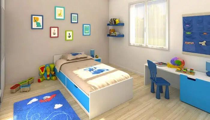 Vue 3D chambre enfant - maison familiale