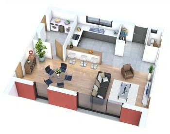 Séjour maison individuelle - plan 3D séjour