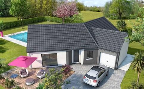 plan maison moderne Bleuet - tuiles anthracite